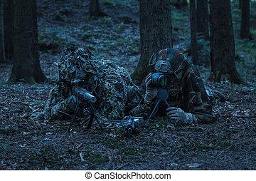 hær, rangers, snigskytte, par