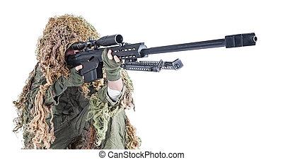 hær, snigskytte, slide, en, ghillie tøjsæt