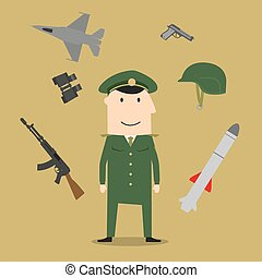 hær, soldat, og, militær, emne