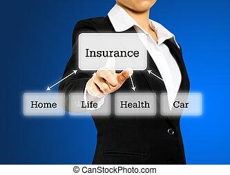 hæve, begreb, forsikring, kvinde
