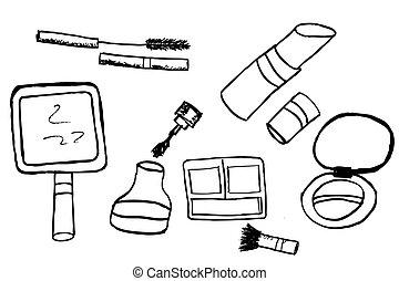 hæve, kvinde, materiale, skitse, hånd