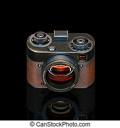héj, render, szüret, háttér., fényképezőgép, fekete, fénykép...
