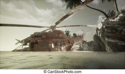 hélicoptère, île, militaire, rouillé, vieux