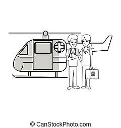 hélicoptère, ambulance, icône