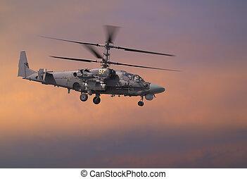 hélicoptère, attaque, ciel, rouges