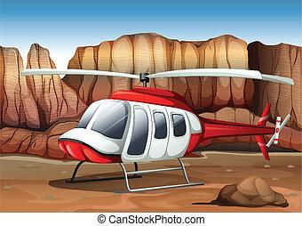 hélicoptère, atterrissage, terrestre