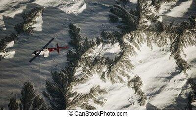 hélicoptère, au-dessus, neige, montagnes