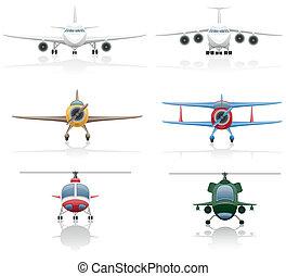 hélicoptère, avion, ensemble, icônes