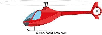 hélicoptère, blanc, isolé, rouges