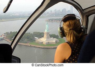 hélicoptère, cavalcade