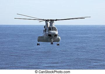 hélicoptère, corps marins, ch-46e