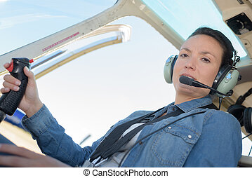 hélicoptère, femme, passager