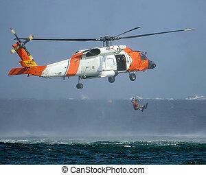 hélicoptère, garde, côte