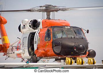 hélicoptère, garde, jayhawk, secours, côte