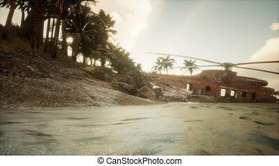 hélicoptère militaire, île, vieux, rouillé