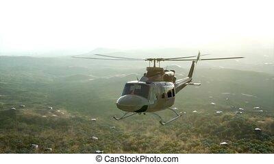 hélicoptère militaire, etats, vietnam, mouvement, lent, uni