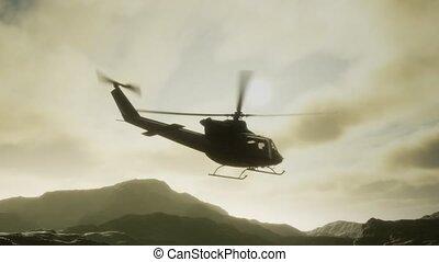 hélicoptère, militaire, mouvement, uni, lent, vietnam, etats