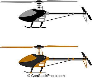 hélicoptère, modèle, vecteur, rc, icônes