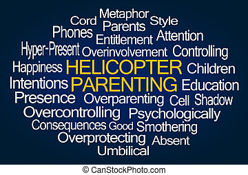 hélicoptère, mot, nuage, parenting