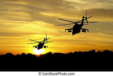 hélicoptère, silhouettes