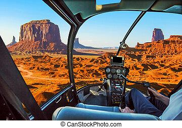 hélicoptère, sur, vallée monument
