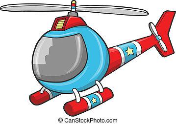 hélicoptère, vecteur, police, secours