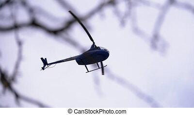 hélicoptère, vol ciel