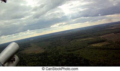 hélicoptère, vue fenêtre