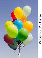hélio, balões, coloridos, grupo