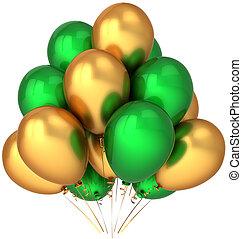 hélio, balões, verde, dourado
