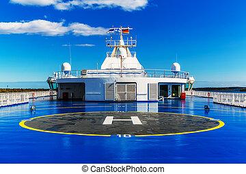héliport, supérieur, bateau, pont