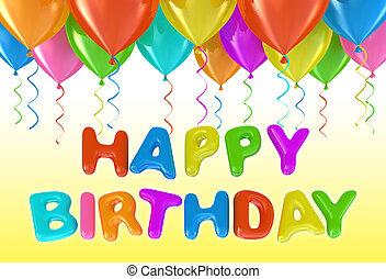 hélium, anniversaire, ballons, heureux