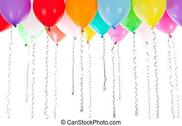 hélium, fond, blanc, coloré, rempli, ballons