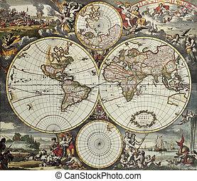 hémisphères, mondiale, vieux, carte