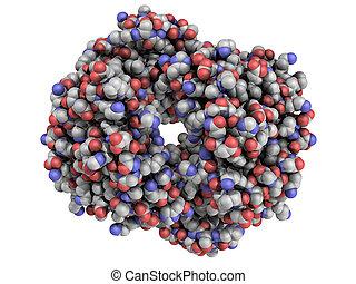 hémoglobine, molécule, chimique, protéine, (hb), humain, structure.