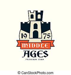héraldique, 1975, prime, vendange, âges, club, illustration, élément, milieu, vecteur, étiquette, écusson, ou, logo