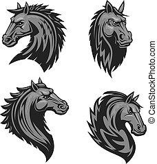 héraldique, emblème, cheval, tête