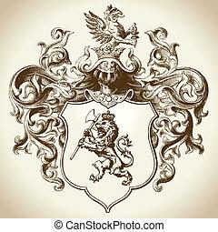 héraldique, emblème, orné