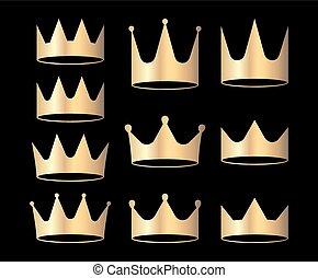 héraldique, ensemble, or, isolé, couronnes, arrière-plan., conception, noir