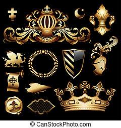 héraldique, ensemble, royal