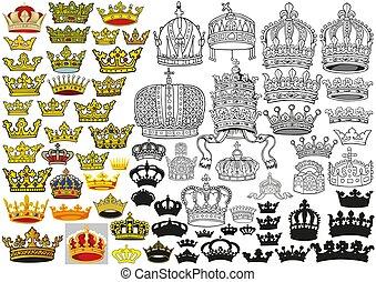 héraldique, ensemble, royal, moyen-âge, couronnes