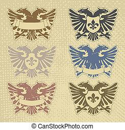 héraldique, ensemble, timbres