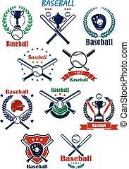 héraldique, equipments, emblèmes, base-ball, ou, insignes