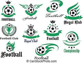 héraldique, football, sports, symboles, emblèmes, football, ou