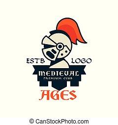 héraldique, prime, estb, vendange, âges, club, illustration, élément, milieu, vecteur, étiquette, écusson, ou, logo