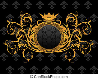 héraldique, trame couronne, retro