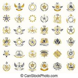 héraldique, vecteur, classique, grand, collection, antiquité, insignes, emblèmes, style, ensemble, coronets, conception, vendange, famille, emblems., héraldique, récompenses, couronnes, symbolique, étoiles, éléments