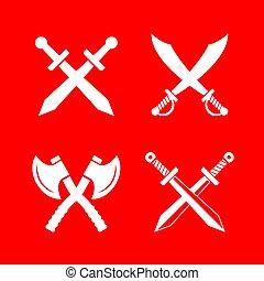 héraldique, vecteur, emblèmes, arme, retro