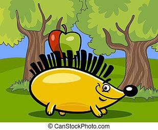 hérisson, dessin animé, illustration, pomme