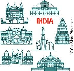 héritage, inde, icônes, architectural, linéaire